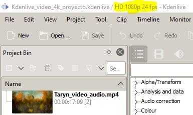 Vídeo de 1080p y de frame rate de 24 cuadros por segundo en Kdenlive