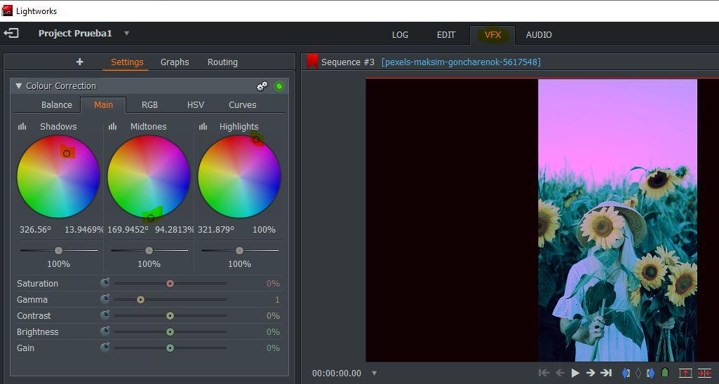 Corrector de colores de vídeos en Lightworks.