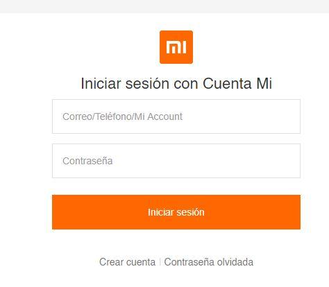 Enlace para crear tu cuenta en el sitio web de Xiaomi Cloud