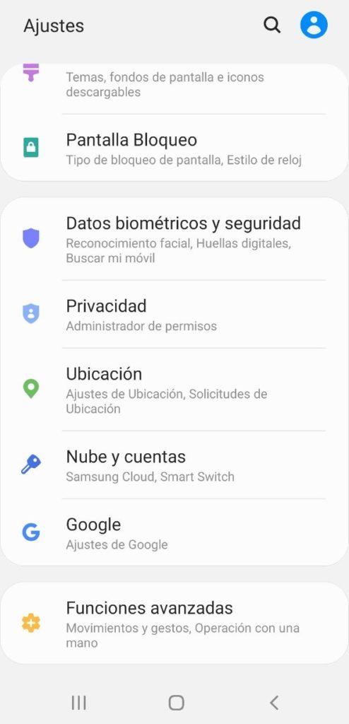datos biométricos / seguridad samsung