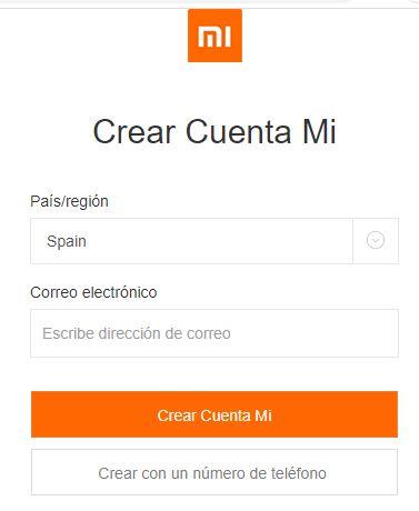 """Botón """"Crear Cuenta Mi"""" del primer formulario necesario para crear tu cuenta de Xiaomi."""