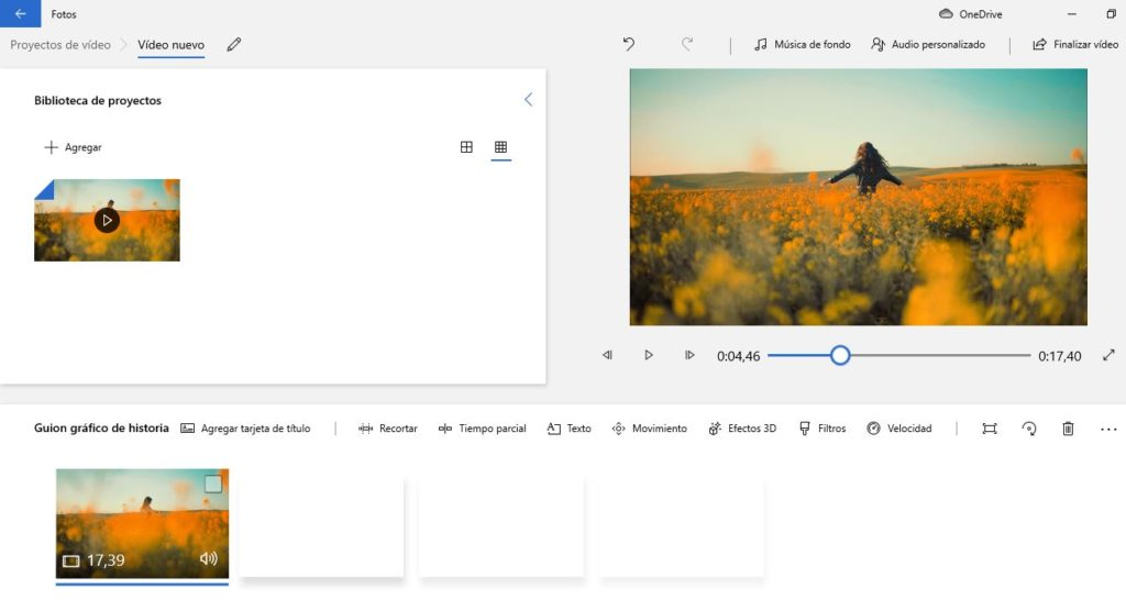 """Espacio de trabajo para editar vídeos en """"Fotos""""."""