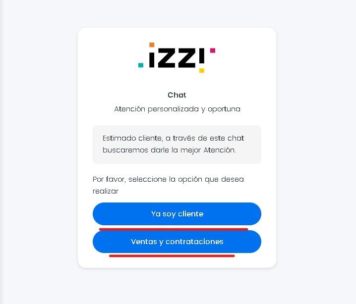 servicio de atención al público de Izzi vía Chat