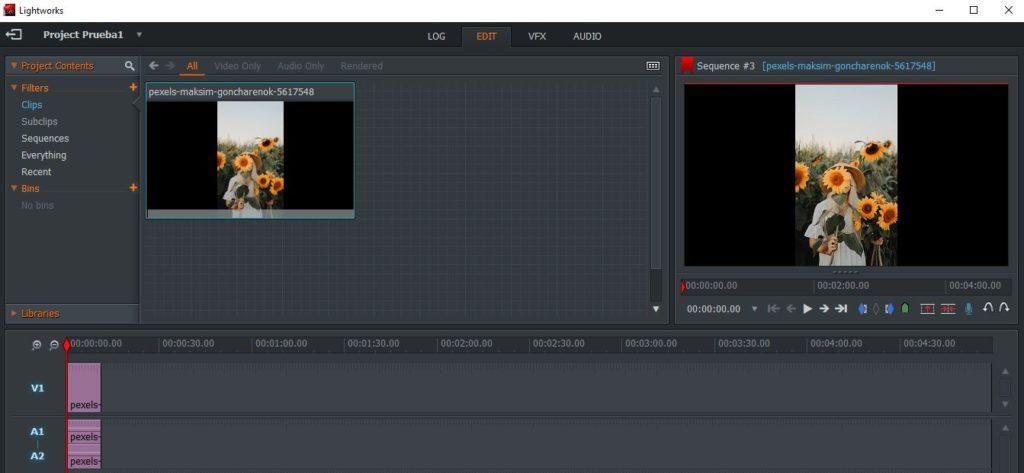 Espacio de trabajo para editar vídeos en Lightworks.