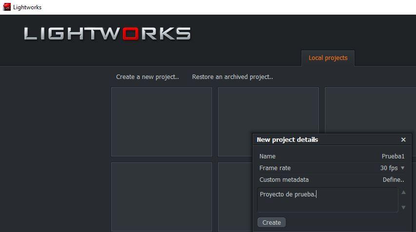 Ventana para crear un nuevo proyecto en Lightworks
