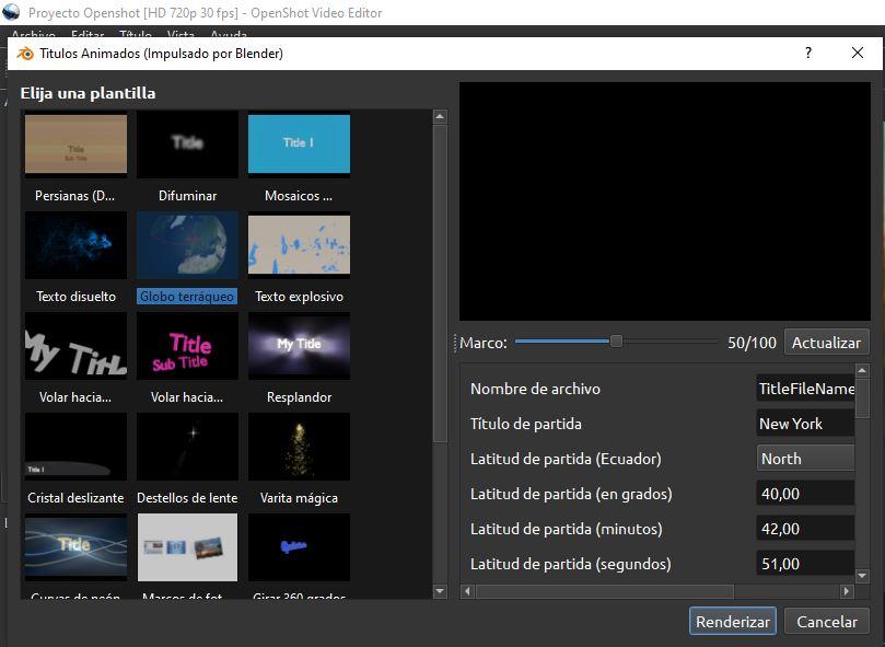 Plantillas de títulos y texto en 3D de OpenShot.