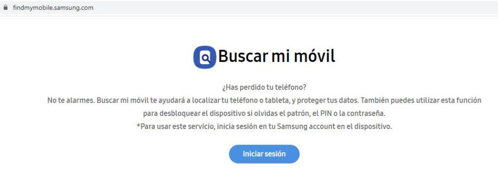 """Botón """"iniciar sesión"""" en la aplicación web de Find my Mobile."""
