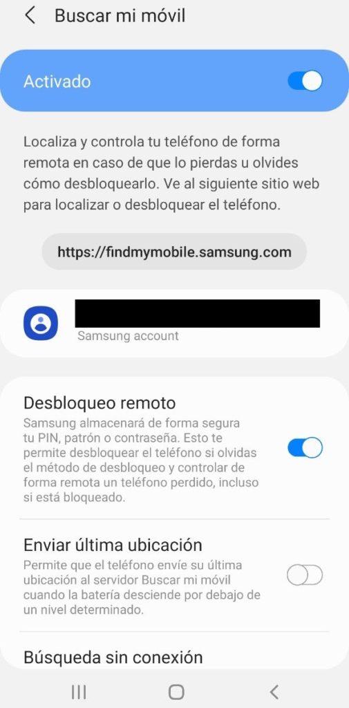 """Opción """"Buscar mi móvil"""" del móvil de Samsung."""