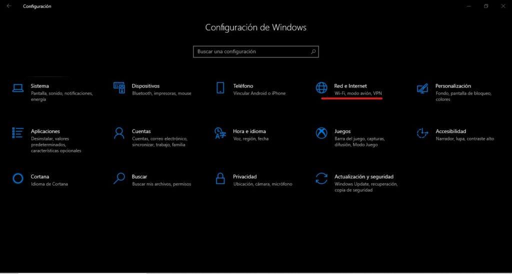 configuracion de red de windows 10