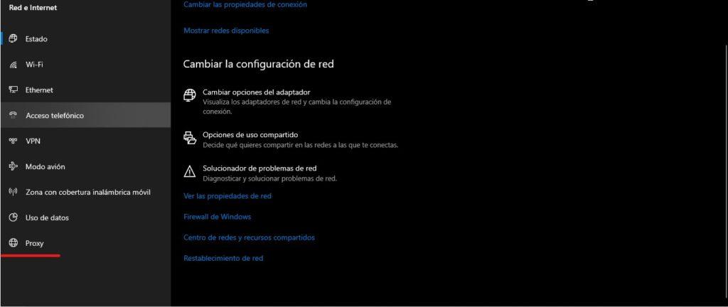 Proxy en windows 10