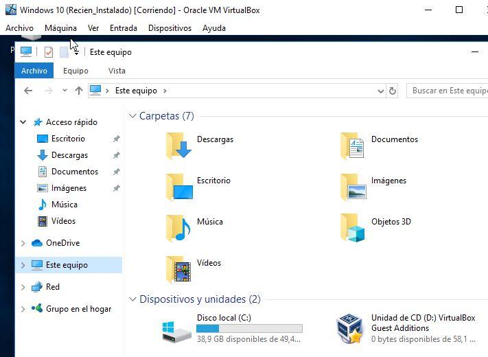 """Carpeta """"Unidad de CD (D:) VirtualBox Guest Additions"""" en """"Este equipo""""."""