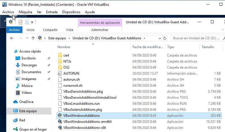 "Instalador ""VBoxWindowsAdditions"" para instalar las Guest Additions."