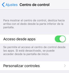 """Opción """"Personalizar controles"""" del menú de la opción """"Centro de control""""."""