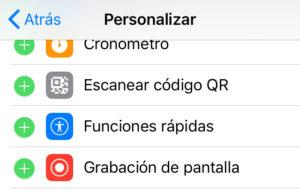 """Opción """"Grabación de pantalla"""" junto con el icono del símbolo """"+"""" del menú de """"Personalizar controles""""."""