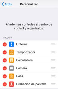 """Opción """"Grabación de pantalla"""" junto con el icono del símbolo """"-"""". Como se observa, esta opción ahora se encuentra dentro del apartado """"INCLUIR""""."""