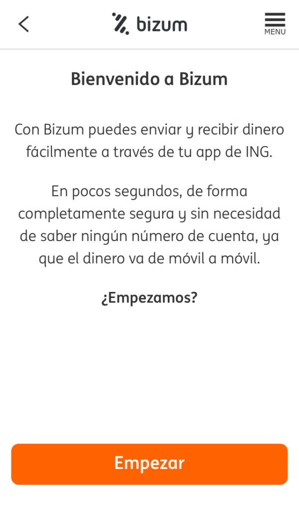 """Ventana de bienvenida de Bizum con el botón """"Empezar""""."""