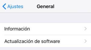 """Opción """"Actualización de software"""" del menú de la opción """"General""""."""