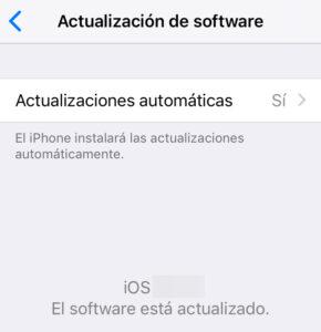 """Menú de """"Actualización de software"""" de un iPhone. En este caso, el iPhone ya tiene la versión más reciente de iOS."""