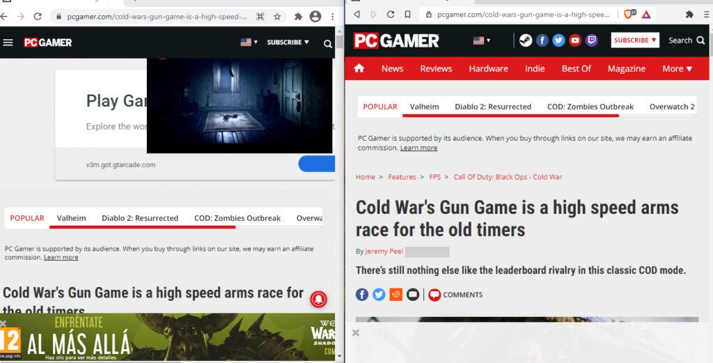 Un artículo del sitio web PC Gamer abierto tanto en Chrome como en Brave. Como se observa, la página no carga anuncios en Brave, pero sí carga anuncios en Chrome. Aparecen tres anuncios grandes en Chrome.