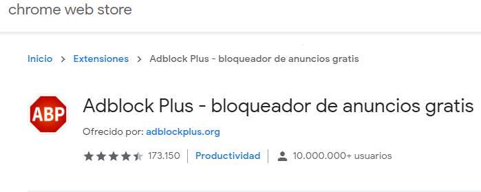 Página de la tienda de extensiones de Chrome mostrando la extensión AdBlock Plus.