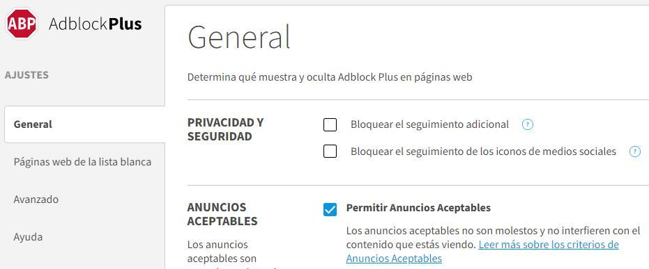 """Menú de configuración del AdBlock Plus, en donde se puede observar que la casilla """"Permitir Anuncios Aceptables"""" está marcada y activada por defecto."""