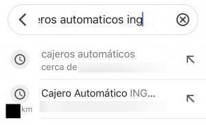 """Barra de búsqueda de Google Maps con el texto """"cajeros automáticos ing"""". Se observa que Google Maps te muestra la dirección de un cajero de ING cercano a ti."""