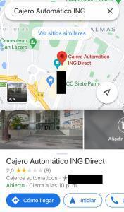 Ubicación de uno de los cajeros de ING más cercanos a ti en Google Maps. La información del cajero se muestra en una pestaña en Google Maps.