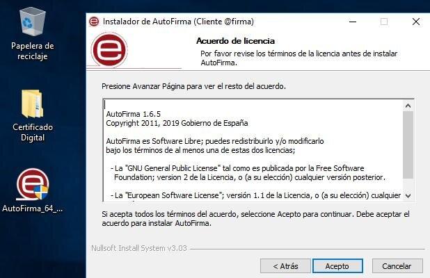 """Botón """"Acepto"""" de la ventana de los términos y condiciones del instalador de Autofirma."""