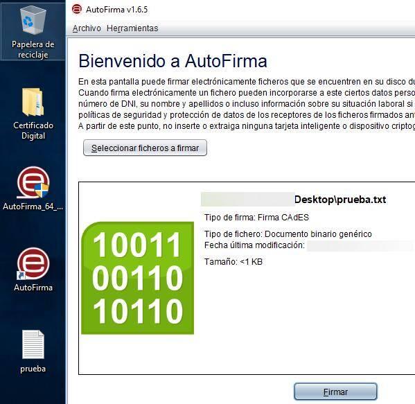 """Programa Autofirma, en dónde se le ha insertado un fichero llamado prueba.txt, y en dónde se muestra el botón """"Firmar""""."""