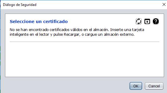 """Ventana con el título """"Seleccione un certificado"""" de Autofirma, en donde se muestra el icono con la flecha apuntando hacia arriba."""