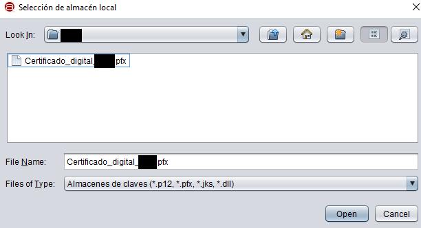 """Ventana de Autofirma para buscar tu certificado digital, en donde se muestra un certificado digital con la extensión """".pfx""""."""