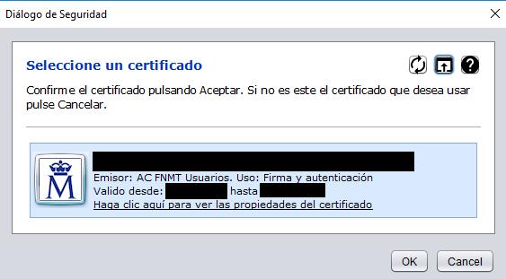 """Botones """"Ok"""" y """"Cancel"""" de la ventana de Autofirma que te muestra los certificados digitales que estén instalados en Autofirma."""
