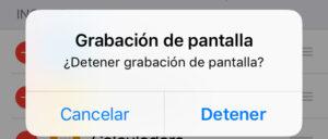 """Modal que te pregunta si quieres dejar de grabar la pantalla de tu iPhone, el cual muestra la opción """"Detener""""."""