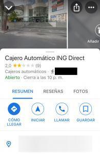 """Opción """"GUARDAR"""" de la pestaña con la información del cajero de ING que encontraste en Google Maps."""