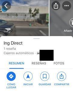 """Opción """"GUARDAR"""" de la pestaña con la información de otro cajero de ING en Google Maps."""