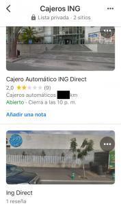 Lista guardada en Google Maps mostrando la ubicación de los cajeros de ING que insertamos en dicha lista.