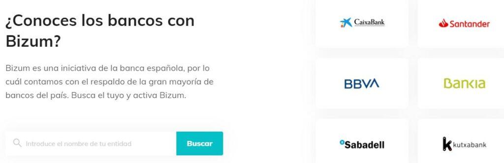 Página web oficial de Bizum mostrando algunos de los bancos adheridos a la red de Bizum.