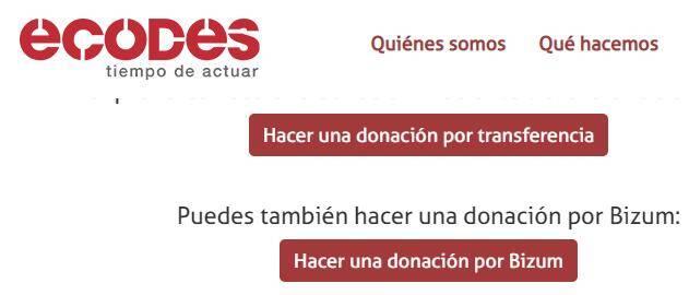 Página web para enviar donaciones a la ONG ECODES, en donde se muestra un botón que te permite enviar una donación usando Bizum.