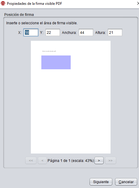 """Ventana para dibujar el área de la página del PDF en donde quieres que aparezca tu firma, la cual muestra el botón """"siguiente""""."""