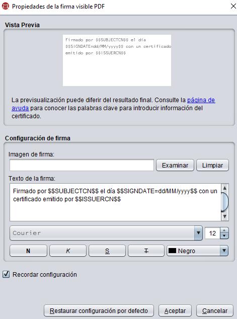 """Ventana de Autofirma que aparece después de que hayas especificado el área de la página del PDF en donde quieras que aparezca tu firma, la cual muestra el botón """"Aceptar""""."""