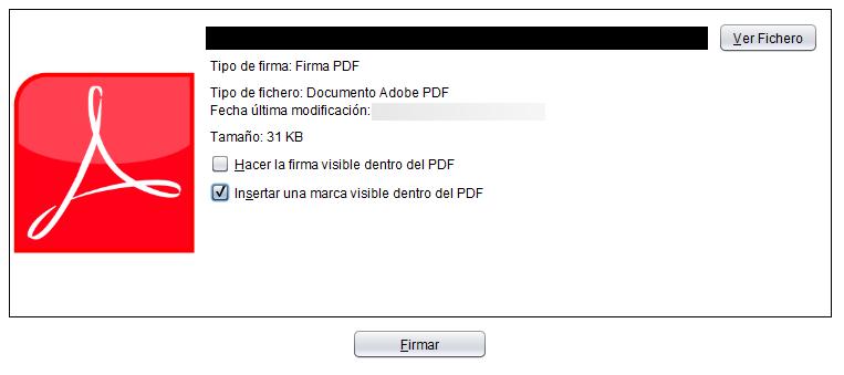 """Ventana de Autofirma después de haberle insertado un PDF, en donde la casilla """"Insertar una marca visible dentro del PDF"""" está marcada."""