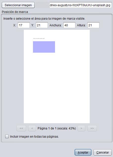 Ventana de Autofirma para dibujar el área de la página del PDF en donde quieras que aparezca la imagen que le quieras insertar.