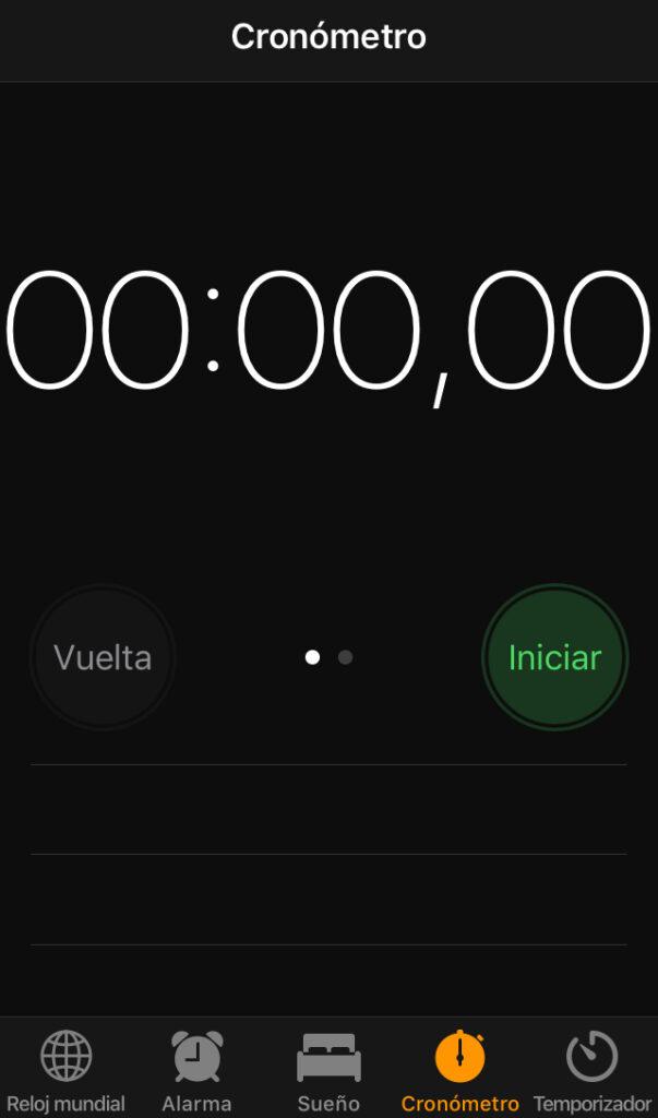 Cronómetro de un iPhone, el cual fue usado para medir la velocidad que le tomaba a Brave y a Chrome cargar cada página web.