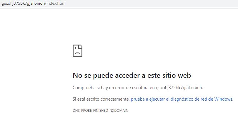 Chrome mostrando un mensaje de error al intentar entrar al enlace .onion de la página web para donar dinero a The Tor Project.