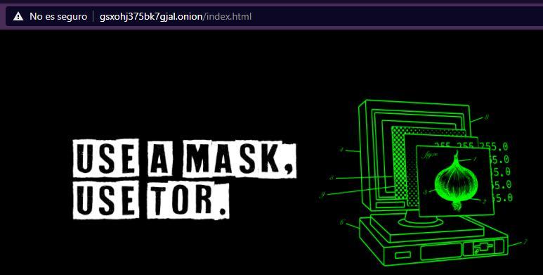 """Página web de The Tor Project en Brave, el cual fue accedido usando un enlace .onion y haciendo clic en el botón """"Abrir en Tor""""."""