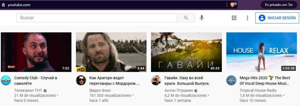 Página principal de YouTube, la cual fue accedida desde la ventana de Tor de Brave.