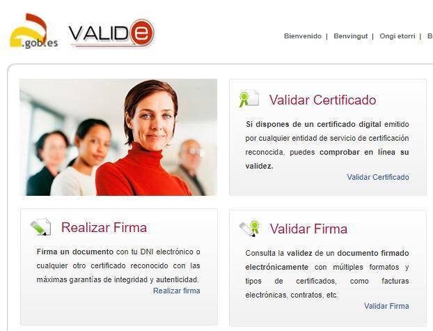 """Sitio web de VALIDe, el cual muestra el enlace """"Validar Firma""""."""