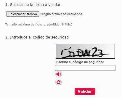 """Página de VALIDe para subir tu fichero firmado digitalmente, el cual muestra el botón """"Seleccionar archivo""""."""