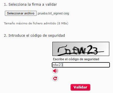"""Página de VALIDe mostrando la casilla """"código de seguridad"""" y el botón """"Validar""""."""