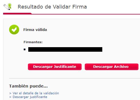 """Página de VALIDe mostrándote el resultado de la validación de la firma del archivo .csig que fue subido a la página, y el enlace """"Ver detalle de la validación"""". En este caso, la firma del archivo es válida."""